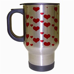 Heart Love Pink Valentine Day Travel Mug (silver Gray) by AnjaniArt