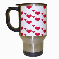 Heart Love Pink Valentine Day Travel Mugs (white) by AnjaniArt