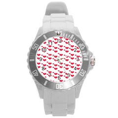 Heart Love Pink Valentine Day Round Plastic Sport Watch (l) by AnjaniArt