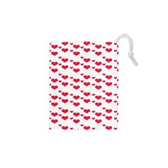 Heart Love Pink Valentine Day Drawstring Pouches (xs)  by AnjaniArt