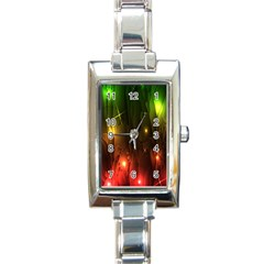 Fractal Manipulations Raw Flower Colored Rectangle Italian Charm Watch by AnjaniArt