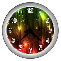 Fractal Manipulations Raw Flower Colored Wall Clocks (silver)  by AnjaniArt