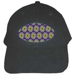 Background Colour Star Flower Purple Yellow Black Cap by AnjaniArt