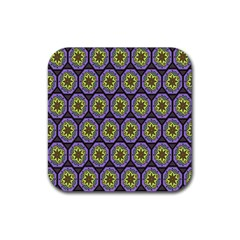 Background Colour Star Flower Purple Yellow Rubber Coaster (square)