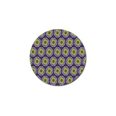 Background Colour Star Flower Purple Yellow Golf Ball Marker (4 Pack) by AnjaniArt
