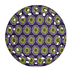 Background Colour Star Flower Purple Yellow Round Filigree Ornament (two Sides) by AnjaniArt