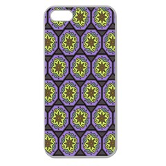 Background Colour Star Flower Purple Yellow Apple Seamless Iphone 5 Case (clear)