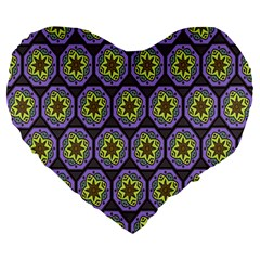 Background Colour Star Flower Purple Yellow Large 19  Premium Flano Heart Shape Cushions