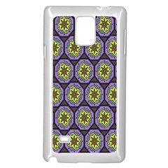 Background Colour Star Flower Purple Yellow Samsung Galaxy Note 4 Case (white) by AnjaniArt