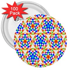Background Colour Circle Rainbow 3  Buttons (100 Pack)