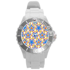 Background Colour Circle Rainbow Round Plastic Sport Watch (l)
