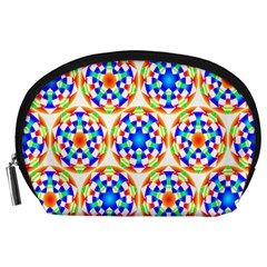 Background Colour Circle Rainbow Accessory Pouches (large)  by AnjaniArt