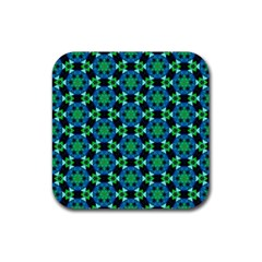 Background Star Colour Green Blue Rubber Coaster (square)  by AnjaniArt