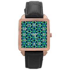Background Star Colour Green Blue Rose Gold Leather Watch