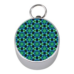 Background Star Colour Green Blue Mini Silver Compasses by AnjaniArt