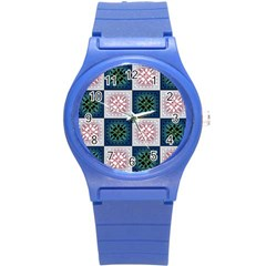 Background Colour Flower Box Round Plastic Sport Watch (s) by AnjaniArt