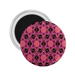 Background Colour Star Pink Flower 2 25  Magnets by AnjaniArt