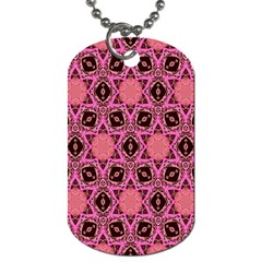 Background Colour Star Pink Flower Dog Tag (two Sides) by AnjaniArt