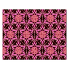 Background Colour Star Pink Flower Rectangular Jigsaw Puzzl by AnjaniArt