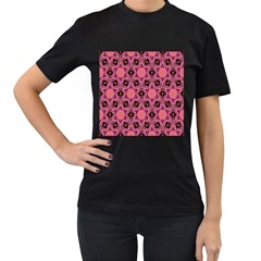Background Colour Star Pink Flower Women s T Shirt (black) (two Sided) by AnjaniArt