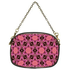 Background Colour Star Pink Flower Chain Purses (two Sides)  by AnjaniArt