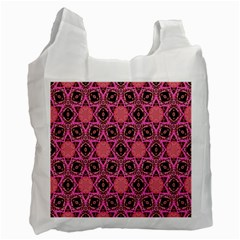 Background Colour Star Pink Flower Recycle Bag (two Side)