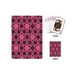 Background Colour Star Pink Flower Playing Cards (mini)