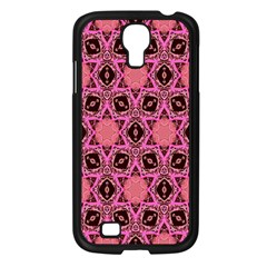 Background Colour Star Pink Flower Samsung Galaxy S4 I9500/ I9505 Case (black) by AnjaniArt
