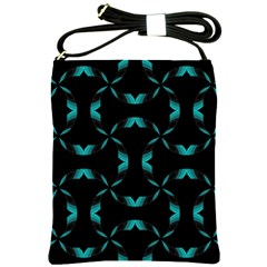 Background Wave Blue Shoulder Sling Bags by AnjaniArt