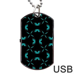 Background Wave Blue Dog Tag Usb Flash (two Sides) by AnjaniArt