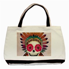 Tribal Hipster Colorful Skull Basic Tote Bag by Brittlevirginclothing