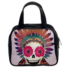 Tribal Hipster Colorful Skull Classic Handbags (2 Sides) by Brittlevirginclothing
