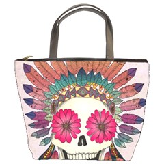 Tribal Hipster Colorful Skull Bucket Bags by Brittlevirginclothing
