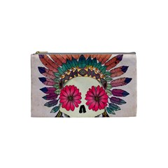 Tribal Hipster Colorful Skull Cosmetic Bag (small)  by Brittlevirginclothing
