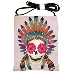 Tribal Hipster Colorful Skull Shoulder Sling Bags by Brittlevirginclothing