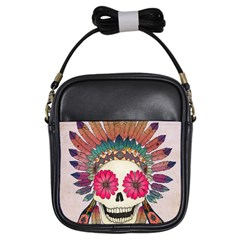 Tribal Hipster Colorful Skull Girls Sling Bags by Brittlevirginclothing