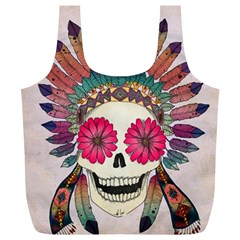 Tribal Hipster Colorful Skull Full Print Recycle Bags (l)  by Brittlevirginclothing