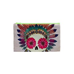 Tribal Hipster Colorful Skull Cosmetic Bag (xs) by Brittlevirginclothing