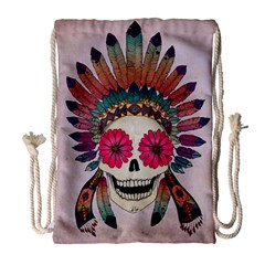 Tribal Hipster Colorful Skull Drawstring Bag (large) by Brittlevirginclothing