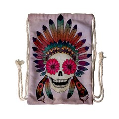 Tribal Hipster Colorful Skull Drawstring Bag (small) by Brittlevirginclothing