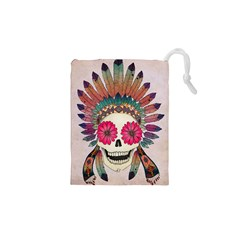 Tribal Hipster Colorful Skull Drawstring Pouches (xs)  by Brittlevirginclothing