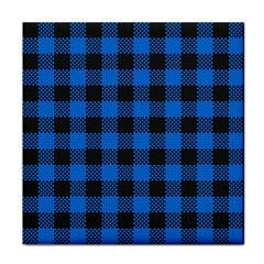 Black Blue Check Woven Fabric Tile Coasters by AnjaniArt