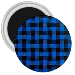 Black Blue Check Woven Fabric 3  Magnets
