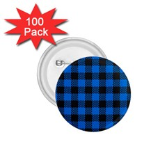 Black Blue Check Woven Fabric 1 75  Buttons (100 Pack)