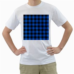 Black Blue Check Woven Fabric Men s T Shirt (white) (two Sided)