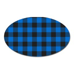 Black Blue Check Woven Fabric Oval Magnet by AnjaniArt
