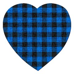 Black Blue Check Woven Fabric Jigsaw Puzzle (heart) by AnjaniArt