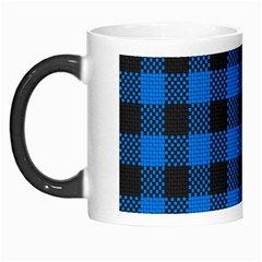 Black Blue Check Woven Fabric Morph Mugs by AnjaniArt
