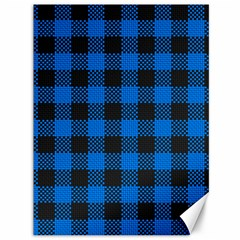 Black Blue Check Woven Fabric Canvas 36  X 48   by AnjaniArt