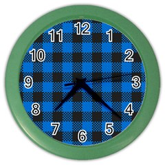 Black Blue Check Woven Fabric Color Wall Clocks